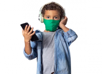 Image of child wearing headphones and mask while holding mobile phone